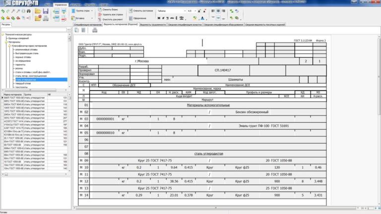 Сводная ведомость материалов материальная СПРУТ-ТП-Нормирование