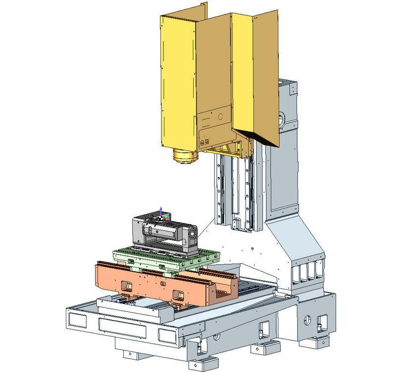 Виртуальная модель обрабатывающего центра Mikron с накладным столом LEHMANN