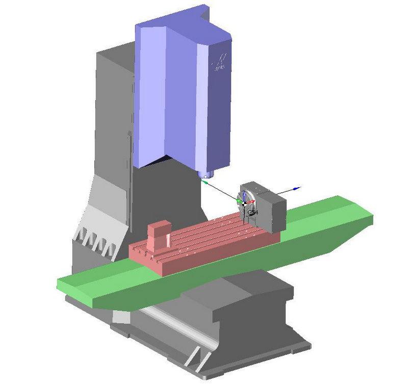 Виртуальная модель обрабатывающего центра Haas с поворотным столом в SprutCAM