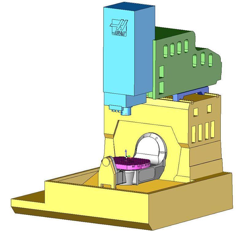 Виртуальная модель пятиосевого обрабатывающего центра Haas в SprutCAM
