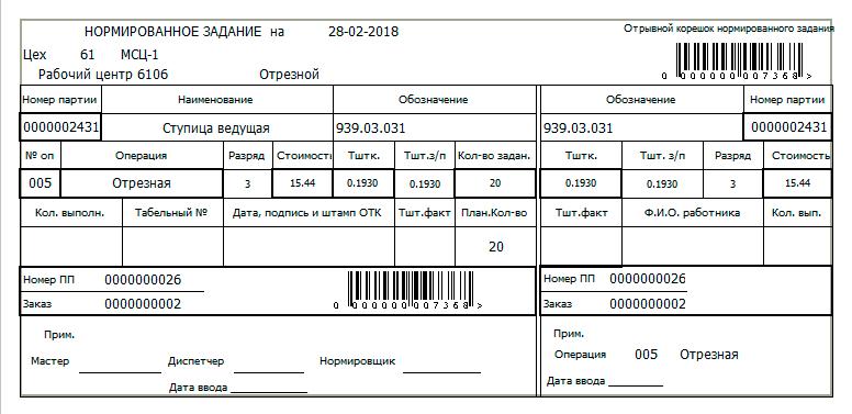 СПРУТ-ОКП планирование производства Документ нормированное задание 2