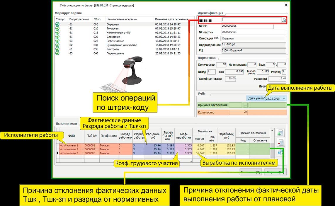 СПРУТ-ОКП планирование производства поиск операций по штрих-коду