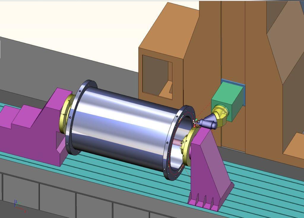 Рис. 2. Моделирование обработки крупногабаритной детали в SprutCAM на специализированном токарно-фрезерном станке