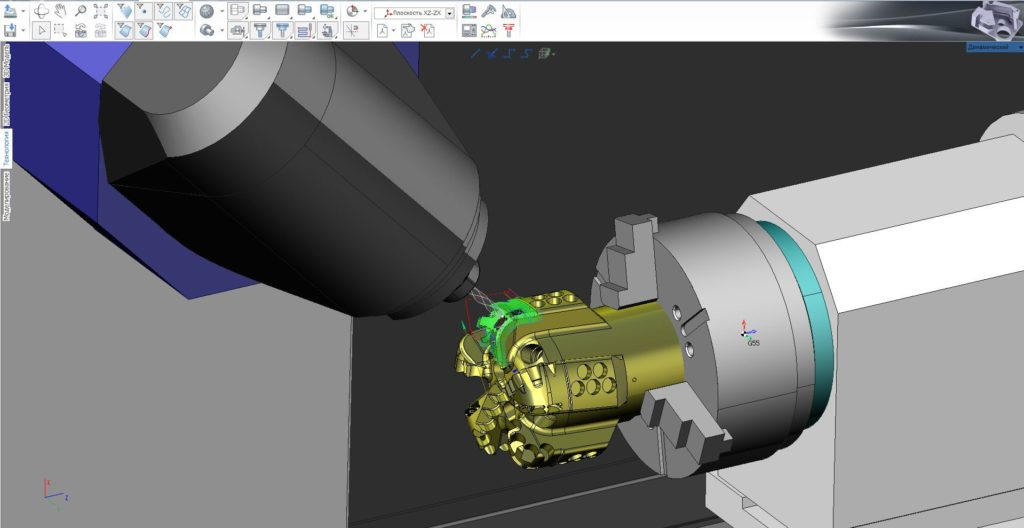 Рис. 3. Обработка детали «Долото» на токарно-фрезерном станке DMG CTX2000 c поворотным фрезерным блоком