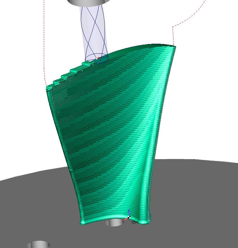 Фрезерная обработка лопатки промышленным роботом Kuka