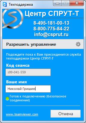 Teamview Техподдержка Центр Спрут